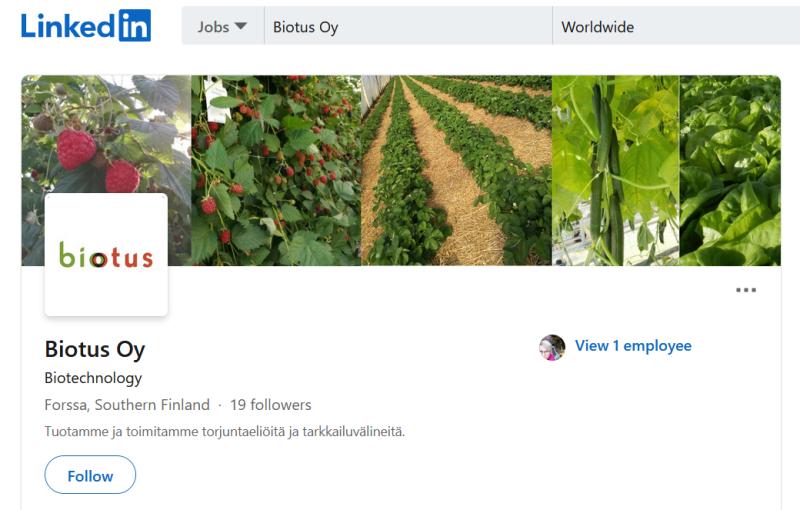 Biotus Oy:n LinkedIn -sivut